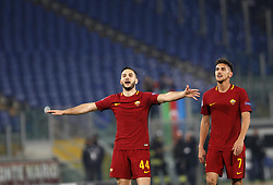 December 5, 2017 - Rome, Italy - Roma s Kostas Manolas, left, and Lorenzo Pellegrini celebrate at the end of the Champions League Group C soccer match between Roma and Qarabag at the Olympic stadium. Roma won 1-0 to reach the round of 16. (Credit Image: © Riccardo De Luca/Pacific Press via ZUMA Wire)