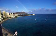 Rainbow, Waikiki Beach, Waikiki, Oahu, Hawaii, USA<br />