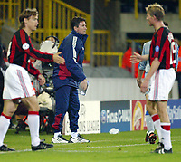 Fotball, 4. november 2003, Champions League,, Club Brugge ( Brügge )-Milan,  Trond Sollied, trener for Brugge