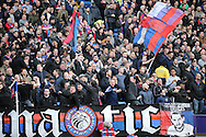 Crystal Palace Ultra fans chanting during the 1st half. Barclays Premier League match, Crystal Palace v Norwich city at Selhurst Park in London on Saturday 9th April 2016. pic by John Patrick Fletcher, Andrew Orchard sports photography.