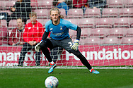 Bradford City goalkeeper George Sykes-Kenworthy (31) warming up  during the EFL Sky Bet League 1 match between Bradford City and Sunderland at the Northern Commercials Stadium, Bradford, England on 6 October 2018.