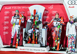 "Second placed Michael Matt (AUT), winner Marcel Hirscher (AUT), third placed Henrik Kristoffersen (NOR) and Janica Kostelic celebrate at Trophy ceremony after the 2nd Run of FIS Alpine Ski World Cup 2017/18 Men's Slalom race named ""Snow Queen Trophy 2018"", on January 4, 2018 in Course Crveni Spust at Sljeme hill, Zagreb, Croatia. Photo by Vid Ponikvar / Sportida"