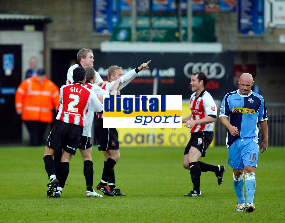 Photo: Marc Atkins.<br /> <br /> Wycombe Wanderers v Cheltenham Town. Coca Cola League 2, Play off Semi Final. 13/05/2006. Cheltenham player celebrate their fisrt goal.