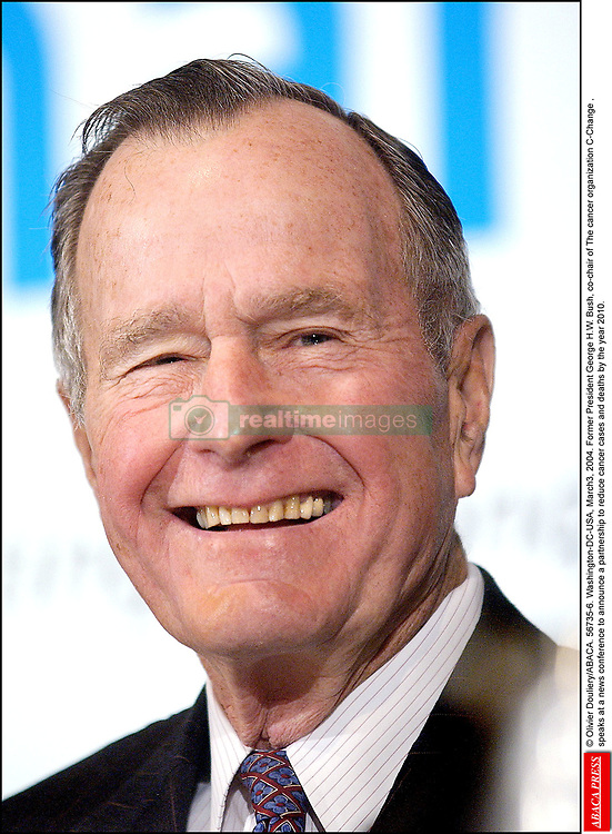 © Olivier Douliery/ABACA. 56735-6. Washington-DC-USA, March3, 2004. Former President George H.W. Bush, co-chair of The cancer organization C-Change , speaks at a news conference to announce a partnership to reduce cancer cases and deaths by the year 2010.