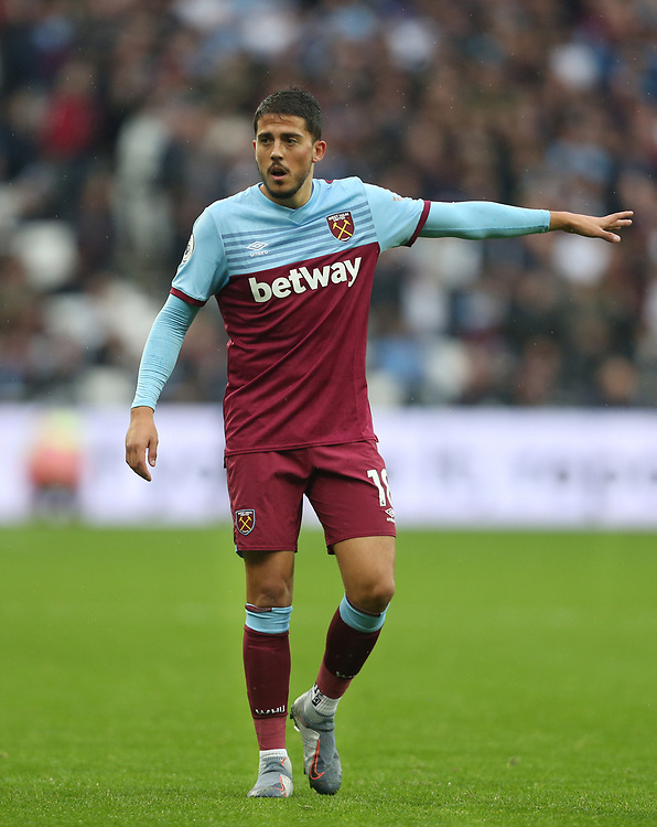 West Ham United's Pablo Fornals<br /> <br /> Photographer Rob Newell/CameraSport<br /> <br /> The Premier League - Saturday 26th October 2019 - West Ham United v Sheffield United - London Stadium - London<br /> <br /> World Copyright © 2019 CameraSport. All rights reserved. 43 Linden Ave. Countesthorpe. Leicester. England. LE8 5PG - Tel: +44 (0) 116 277 4147 - admin@camerasport.com - www.camerasport.com