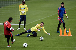 BOGOTA, May 25, 2018  Goalkeeper David Ospina (2nd R) of Colombia's national soccer team takes part in a training session before the Russia 2018 FIFA World Cup finals, in Bogota, capital of Colombia, on May 24, 2018.  da) (vf) (Credit Image: © Jhon Paz/Xinhua via ZUMA Wire)