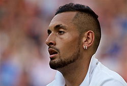 LONDON, ENGLAND - Thursday, July 4, 2019: Nick Kyrgios (AUS), wearing double earrings during the Gentlemen's Singles second round match on Day Four of The Championships Wimbledon 2019 at the All England Lawn Tennis and Croquet Club. Nadal won 6-3, 3-6. 6, 7-6. (Pic by Kirsten Holst/Propaganda)