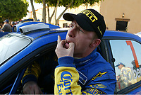 AUTO - WRC 2004 - MEXICO RALLY - LEON 20040314 - PHOTO : FRANCOIS BAUDIN / DIGITALSPORT<br /> PETTER SOLBERG (NOR) / SUBARU IMPREZA WRC - AMBIANCE - TIME PENALTY