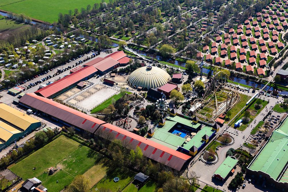 Nederland, Overijssel,  Gemeente Hardenberg, 01-05-2013; vakantiepark en attractiepark Slagharen (voorheen Shetland Ponypark Slagharen). Achtbaan en vakantiewoningen.<br /> Themepark & Resort Slagharen.<br /> luchtfoto (toeslag op standard tarieven);<br /> aerial photo (additional fee required);<br /> copyright foto/photo Siebe Swart