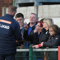 TELFORD COPYRIGHT MIKE SHERIDAN Gavin Cowan speaks to the travelling Telford fans after angry scenes near the dugout at full time during the National League North fixture between Blyth Spartans and AFC Telford United at Croft Park on Saturday, September 28, 2019<br /> <br /> Picture credit: Mike Sheridan<br /> <br /> MS201920-023