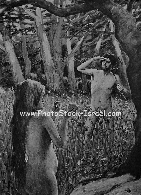 """ADAM IS TEMPTED BY EVE. Gen. iii. 6. """"And when the woman saw that the tree was good for food she took of the fruit thereof, and did eat, and gave also unto her husband with her; and he did eat. From the book ' The Old Testament : three hundred and ninety-six compositions illustrating the Old Testament ' Part I by J. James Tissot Published by M. de Brunoff in Paris, London and New York in 1904"""