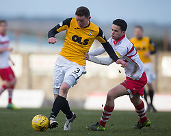 East Fife's Pat Slattery and Stirling Albion's Willie Robertson. <br /> East Fife 1 v 0 Stirling Albion, Scottish Football League Division Two game played atBayview Stadium, 20/2/2106.