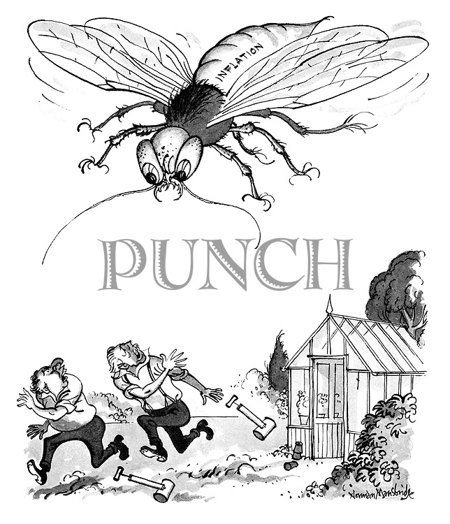 (The giant wasp of inflation chases Prime Minister Harold Macmillan and the President of the Board of Trade Reginald Maudling)