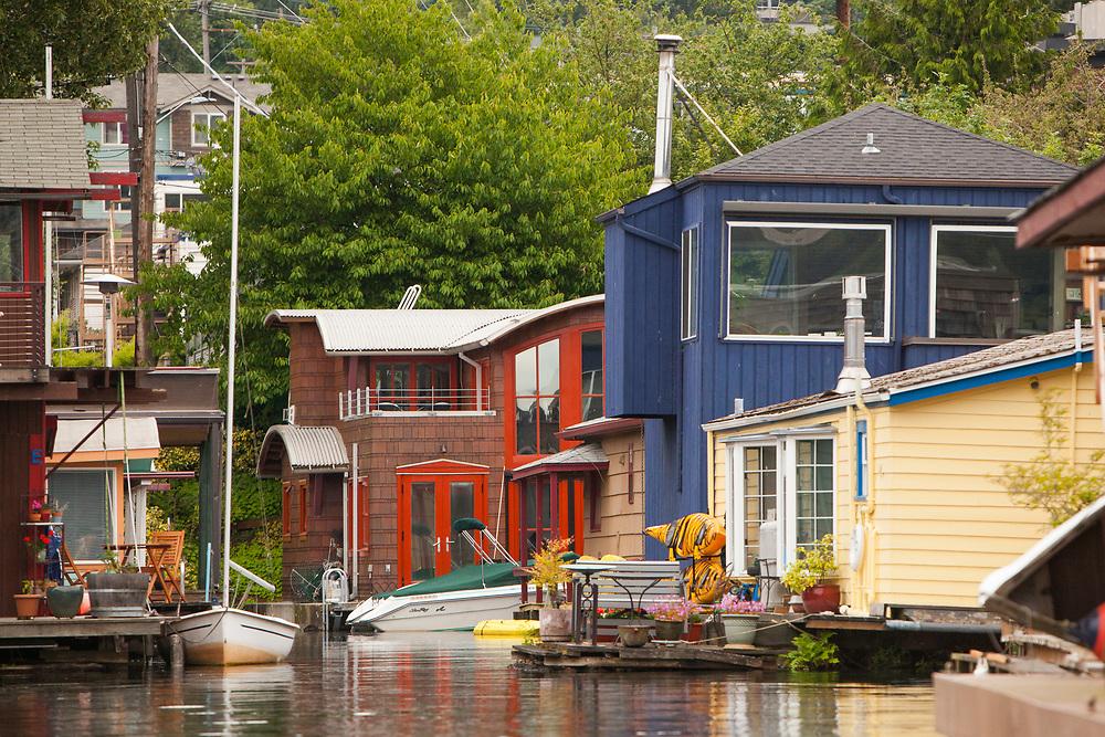 North America, United States, Washington, Seattle, Lake Union, houseboat community