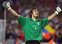 Photo: Chris Ratcliffe.<br /> Switzerland v Ukraine. 2nd Round, FIFA World Cup 2006. 26/06/2006.<br /> Ukraine keeper Oleksandr Shovkovskyi celebrates winning.