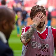 NLD/Amsterdam/20180408 - Ajax - Heracles, Lasse Schone slaat zijn hand voor zijn gezicht