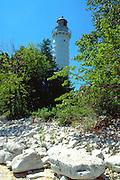 Lighthouse on Lake Michigan.  Door County Wisconsin USA