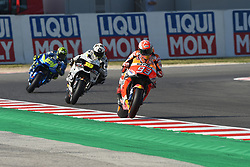 September 7, 2018 - Rimini, Italy - 93 Spanish driver Marc Marquez of Team Repsol Honda Team,  19 Spanish driver Alvaro Bautista of Team Aspar MotoGP Team and  29 Italian driver Andrea Iannone of Team Suzuki ECSTAR driving durin free practice in Misano World Circuit Marco Simoncelli in Misano Adriatico for San Marino and Riviera di Rimini GP  (Credit Image: © Andrea Diodato/NurPhoto/ZUMA Press)