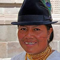 South America, Ecuador, Quito. Quechuan woman in Quito.