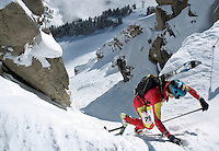 NEWS&GUIDE PHOTO / BRADLY J. BONER.Manuel Perez raaches the top of the ladder in Corbet's Couloir during the Randonnee Rally on Saturday at Jackson Hole Mountain Resort.  Perez finished first with a time of 1:56:33.