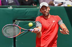 April 11, 2018 - Houston, TX, U.S. - HOUSTON, TX - APRIL 11: Ivo Karlovic (CRO) returns a shot during his match against Denis Kudla (USA) during the 2018 US Men's Clay Court Tennis Championships on April 11, 2018 at River Oaks Country Club, Houston, Texas. (Photo by Ken Murray/Icon Sportswire) (Credit Image: © Ken Murray/Icon SMI via ZUMA Press)