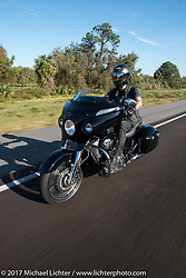 Bagger Magazine's Morgan Gales riding a 2017 Indian Chieftain Limited during Daytona Beach Bike Week. FL, USA. Friday March 10, 2017. Photography ©2017 Michael Lichter.