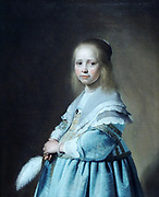 Portrait of a Girl Dressed in Blue by Johannes Cornelisz Verspronck (c. 1600-1662) oil on canvas, 1641.  depicts an adorable child dressed in her Sunday best?  As was the custom of the day, the young girl is portrayed as a small adult lady.  That she is playing a role is betrayed only by her facial expression.  Unfortunately, we know nothing about her identity or her family.  Perhaps she resided in Haarlem, like the portraitist Verspronck.