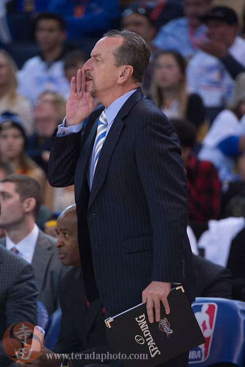 December 25, 2015; Oakland, CA, USA; Cleveland Cavaliers assistant coach Jim Boylan during the second quarter in a NBA basketball game on Christmas against the Golden State Warriors at Oracle Arena. The Warriors defeated the Cavaliers 89-83.