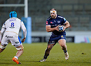 Sale Sharks Wiil-Griff John during a Gallagher Premiership Round 9 Rugby Union match, Friday, Feb 12, 2021, in Leicester, United Kingdom. (Steve Flynn/Image of Sport)