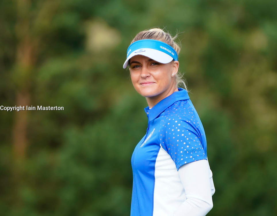 Auchterarder, Scotland, UK. 15 September 2019. Sunday Singles matches on final day  at 2019 Solheim Cup on Centenary Course at Gleneagles. Pictured; Charley Hull of Team Europe smiles. Iain Masterton/Alamy Live News