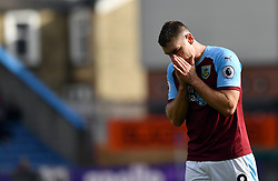 Burnley's Sam Vokes during the Premier League match at Turf Moor, Burnley