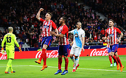 MADRID, April 2, 2018  Atletico Madrid's Kevin Gameiro (2nd L) celebrates scoring during the Spanish league match between Atletico de Madrid and RC Deportivo de La Coruna in Madrid, Spain, on April 1, 2018. Atletico Madrid won 1-0.  wll) (Credit Image: © Edward Peters Lopez/Xinhua via ZUMA Wire)
