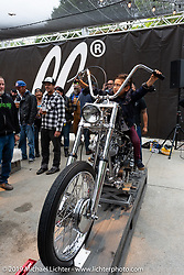 Nick Busby's 1962 custom Harley-Davidson People's Champ Panhead at the Born Free pre-party and People's Champ finals at Cooks Corner before the big show. Trabuco Canyon, CA, USA. Friday, June 21, 2019. Photography ©2019 Michael Lichter.