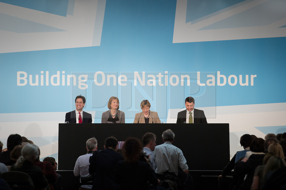 "© Licensed to London News Pictures . 01/03/2014 . London , UK . Ed Miliband , Harriet Harman , Angela Eagle and Iain McNicol on the stage . The Labour Party hold a one day "" Special Conference "" at the Excel Centre in London today (Saturday 1st March 2014) . Photo credit : Joel Goodman/LNP"