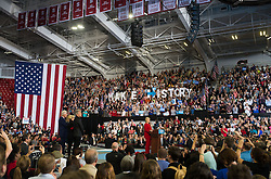 November 8, 2016 - Raleigh, United States - Democratic presidential nominee former Secretary of State Hillary Clinton speaks during a campaign rally at North Carolina State University on November 8, 2016 in Raleigh North Carolina. With less than 24 hours until Election Day in the United States, Hillary Clinton is campaigning in Pennsylvania, Michigan and North Carolina. (Credit Image: © Zach D Roberts/NurPhoto via ZUMA Press)
