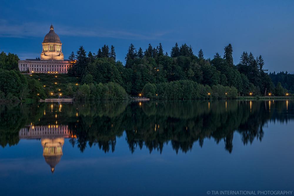 Washington State Capitol on Capitol Lake