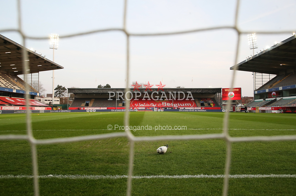 LEUVEN, BELGIUM - MARCH 24: Illustration picture shows a general view inside the stadium before the FIFA World Cup 2022 Qatar qualifying match between Belgium and Wales at King Power at Den Dreef Stadium on March 24, 2021 in Leuven, Belgium. (Photo by Vincent Van Doornick/Isosport)
