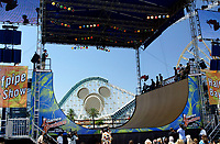 """Jul 01, 2003; Anaheim, California, USA; Professional Skateboarder MIKE CRUM extreme sports athlete performs live at Disney's California Adventure """"X Games Experience"""".  Disney park has built two X-Arena's specifically for this 41 day event highlighting extreme sports for the launch of the 2003 ESPN X Games.<br />Mandatory Credit: Photo by Shelly Castellano//Icon SMI<br />(©) Copyright 2003 by Shelly Castellano"""