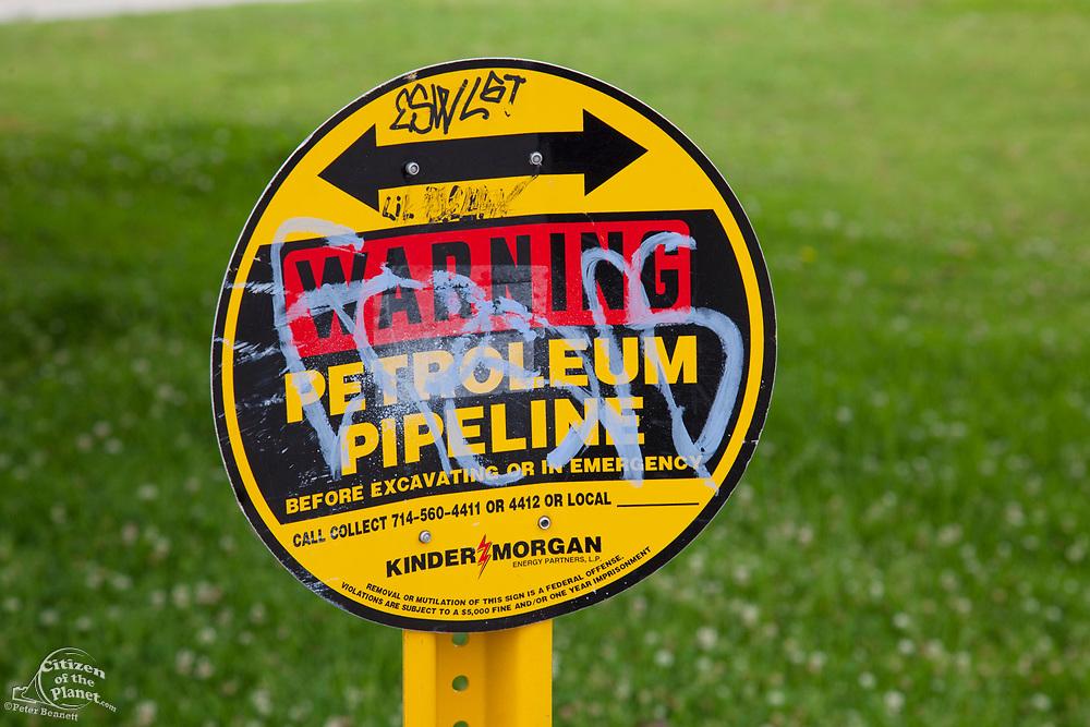 Petroleum Pipeline sign in Greenbelt Park, Wilmington, California, USA