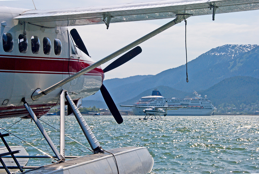 Alaska, Juneau.  Cruise ship passengers can take a float plane flight seeing shore excursion