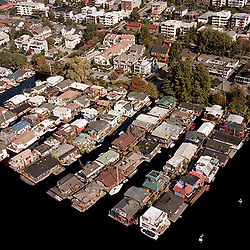 Aerial view of Houseboats in Seattle Washington