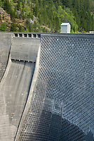 Detail of the face of Ross Dam, one of three dams on the Upper Skagit River Washington
