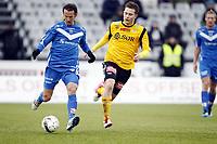 Fotball ,9. april 2012 , Adeccoligaen , 1. divisjon , Sarpsborg - Start 4-4<br /> Alvaro Baigorri , Sarpsborg<br /> Matthias Vilhjalmsson , Start