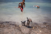 Swiming at Twin Lakes in Santa Rosa New Mexico