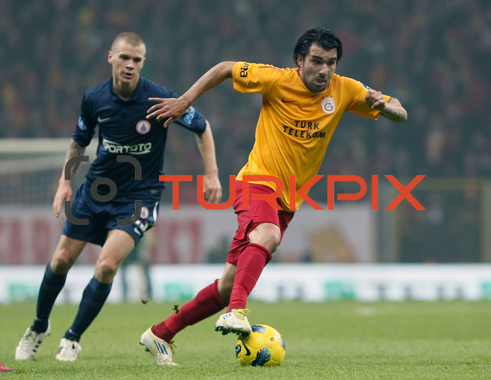 Galatasaray's Engin Baytar (R) during their Turkish Super League soccer match Galatasaray between IBBSpor at the TT Arena at Seyrantepe in Istanbul Turkey on Tuesday, 03 January 2012. Photo by TURKPIX