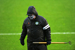 A Forest Green Rovers groundsmen preps the pitch prior to kick-off - Mandatory by-line: Nizaam Jones/JMP - 14/11/2020 - FOOTBALL - innocent New Lawn Stadium - Nailsworth, England - Forest Green Rovers v Mansfield Town - Sky Bet League Two