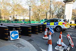 © Licensed to London News Pictures . 28/03/2017 . London , UK . Security gateway in the road on Birdcage Walk opposite St James's Park in Westminster . Photo credit: Joel Goodman/LNP