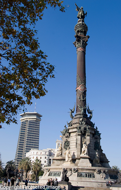 Statue of Columbus at the Plaça Portal de la Pau in Barcelona