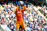 Sunderland goalkeeper Jon McLaughlin (1) claims the ball  during the EFL Sky Bet League 1 match between Bradford City and Sunderland at the Northern Commercials Stadium, Bradford, England on 6 October 2018.