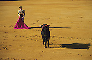 """Face off between Matador and bull in La Real Maestranza..Bullfighting in Sevilla's famous bullring """"La Real Maestranza"""" is a significant part of the Feria de Abril..The Feria de abril de Sevilla, """"Seville April Fair"""" dates back to 1847. During the 1920s, the feria reached its peak and became the spectacle that it is today. It is held in the Andalusian capital of Seville in Spain. The fair generally begins two weeks after the Semana Santa, Easter Holy Week. The fair officially begins at midnight on Monday, and runs six days, ending on the following Sunday. Each day the fiesta begins with the parade of carriages and riders, at midday, carrying Seville's citizens to the bullring, La Real Maestranza. Seville. Andalusia. Spain...Blood sport ending in the killing of a bull in front of thousands of spectators. An entertainment and tradition derived from the ancient gladiatorial spectacles of Roman times. This activity is loved and defended by 'affecionados' who see the artistry and traditions whilst it is detested by animal rights activists, environmentalist and ecologists for its cruelty to animals"""